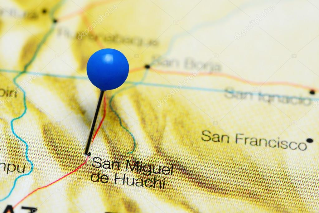 San Miguel de Huachi pinned on a map of Bolivia — Stock Photo ...