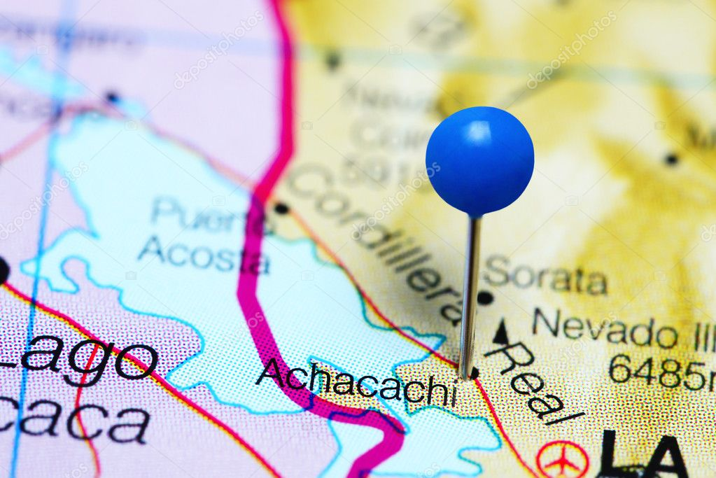 Achacachi pinned on a map of Bolivia — Stock Photo © dk_photos ...