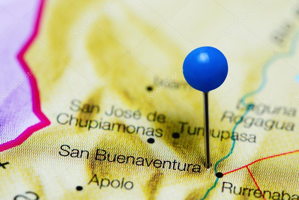 San Buenaventura pinned on a map of Bolivia Stock Photo