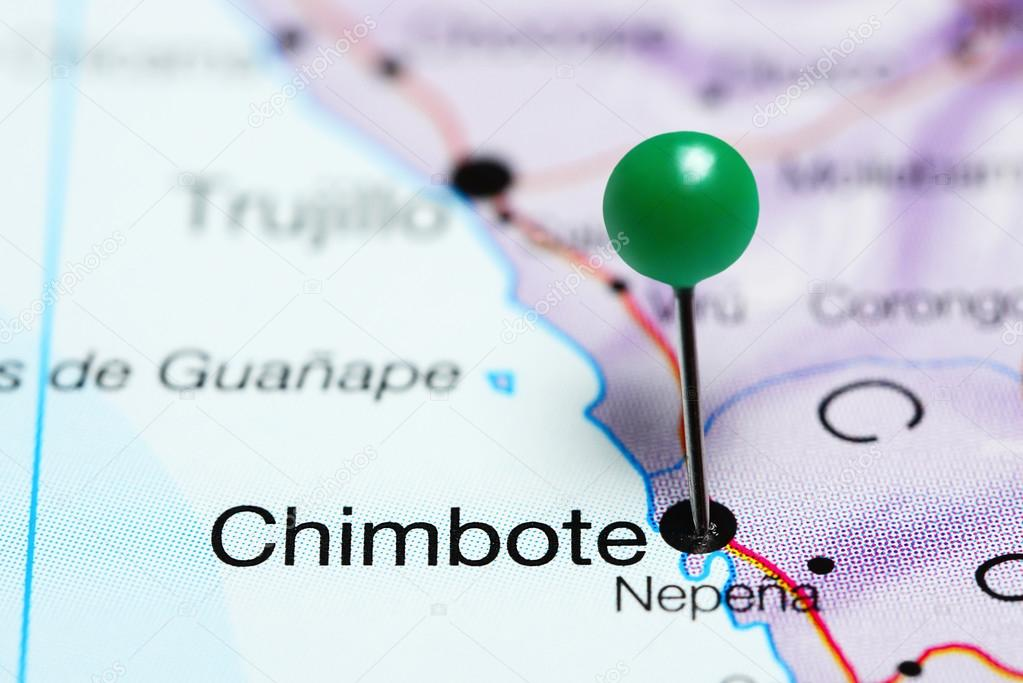 Chimbote pinned on a map of Peru Stock Photo dkphotos 121858784