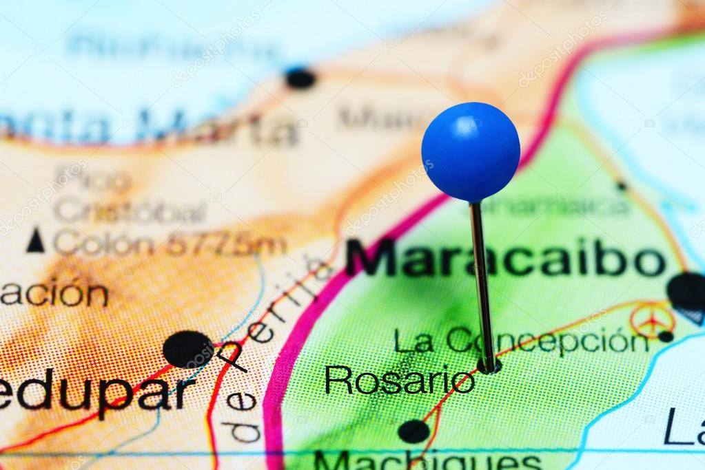 Rosario pinned on a map of Venezuela Stock Photo dkphotos