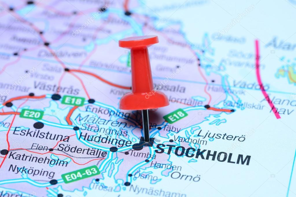 Stockholm pinned on a map of europe stock photo dkphotos 59389115 stockholm pinned on a map of europe stock photo publicscrutiny Image collections