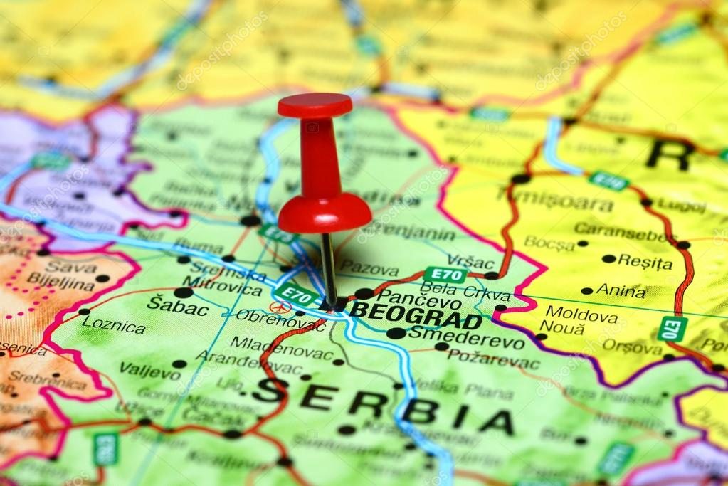 Belgrade Pinned On A Map Of Europe Stock Photo C Dk Photos 59391809