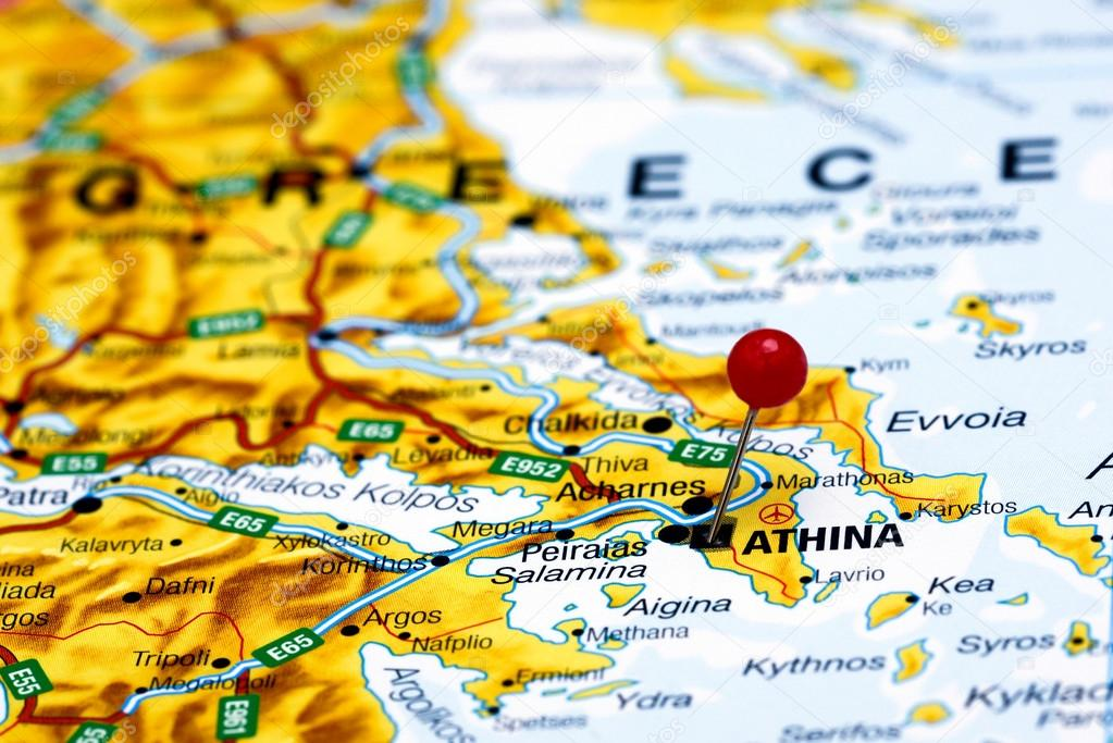 Athens Pinned On A Map Of Europe Stock Photo C Dk Photos 59424455