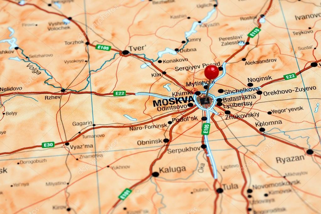 moskva karta Moskva fästs på en karta över Europa — Stockfotografi © dk_photos  moskva karta