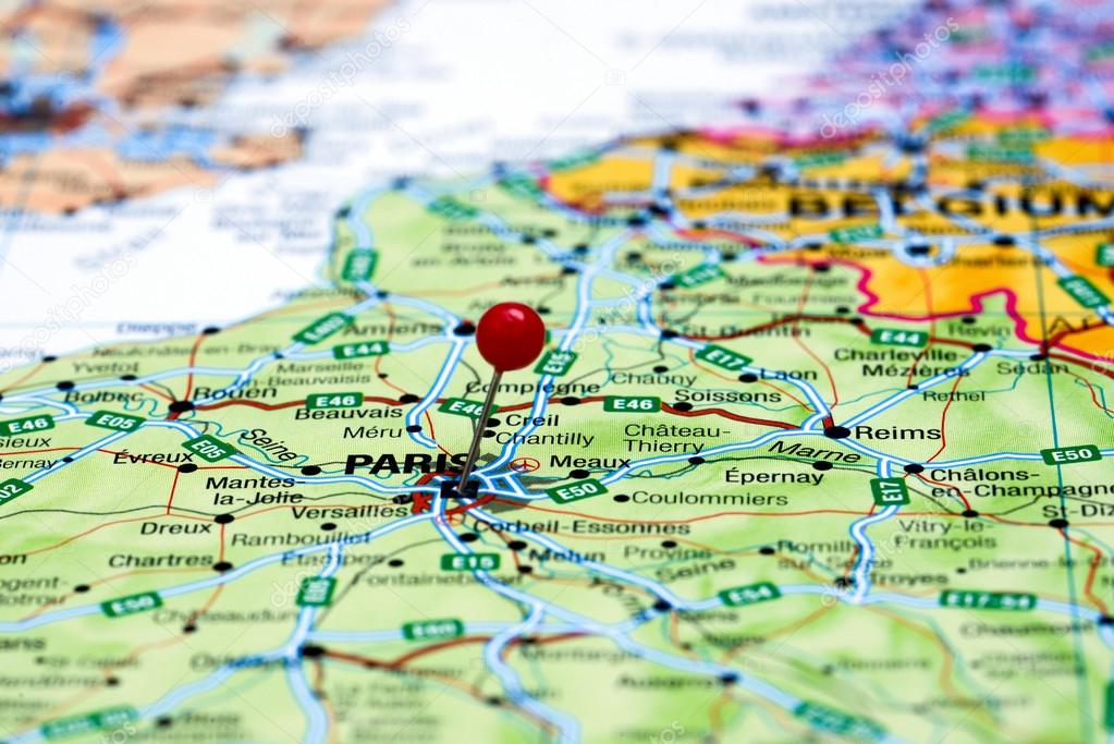 Paris On Europe Map.Paris Pinned On A Map Of Europe Stock Photo C Dk Photos 59424767