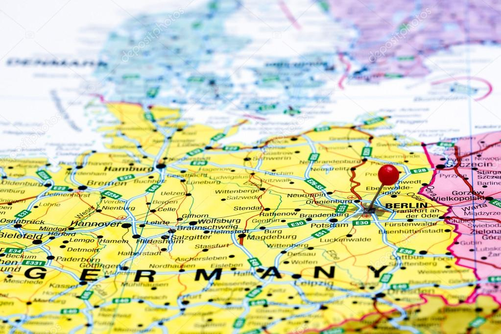 Berlin Pinned On A Map Of Europe Stock Photo C Dk Photos 59425005