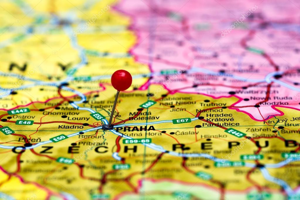 Prag Karte Europa.Prag Fixiert Auf Einer Karte Von Europa Stockfoto Dk Photos