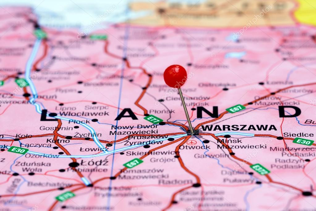 Warsaw Europe Map.Warsaw Pinned On A Map Of Europe Stock Photo C Dk Photos 59425069