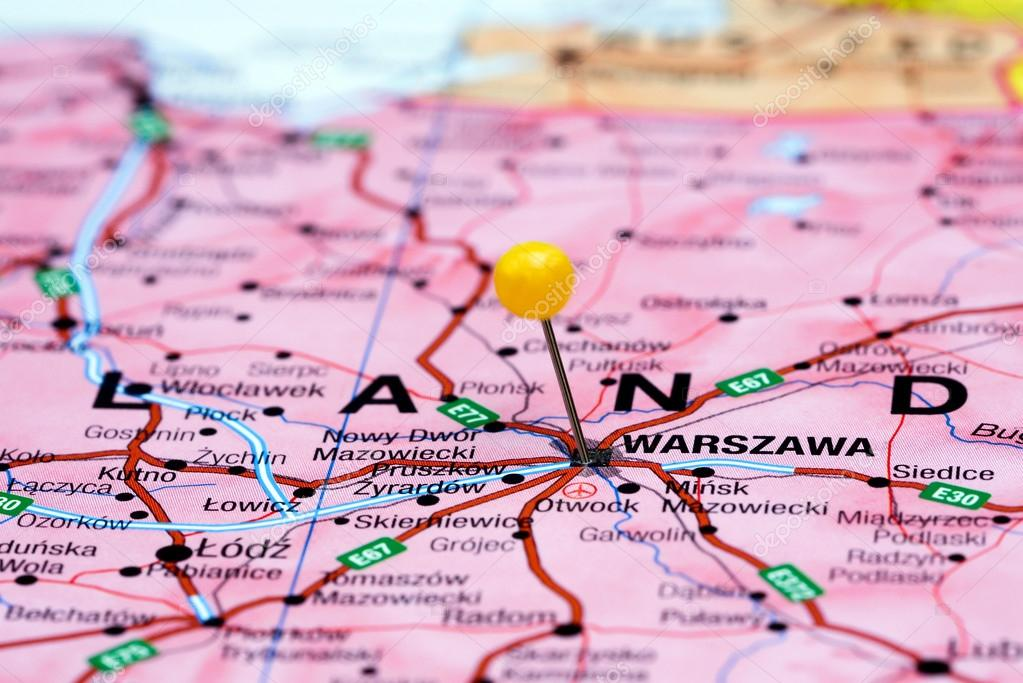 Warsaw Europe Map.Warsaw Pinned On A Map Of Europe Stock Photo C Dk Photos 59425111