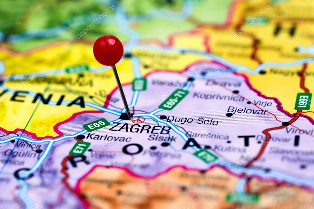 Zagreb Carte Europe.Zagreb A Effectue Le Tombe Sur Une Carte De L Europe