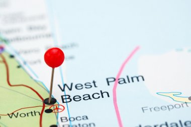 West Palm Beach pinned on a map of USA