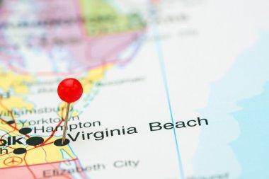 Virginia Beach pinned on a map of USA