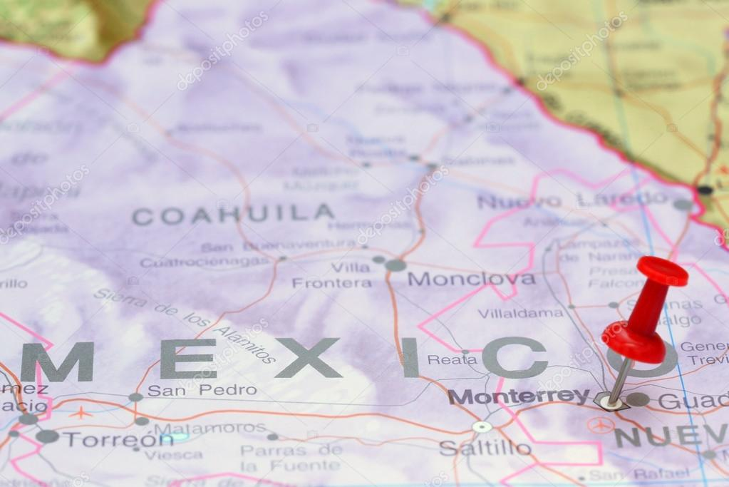 Monterrey pinned on a map of America Stock Photo dkphotos 77806018