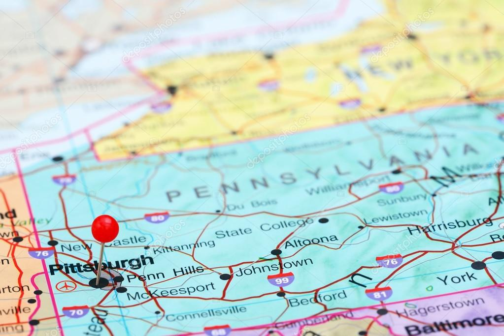 Pittsburgh On Map Of Usa.Pittsburgh Pinned On A Map Of Usa Stock Photo C Dk Photos 77808996
