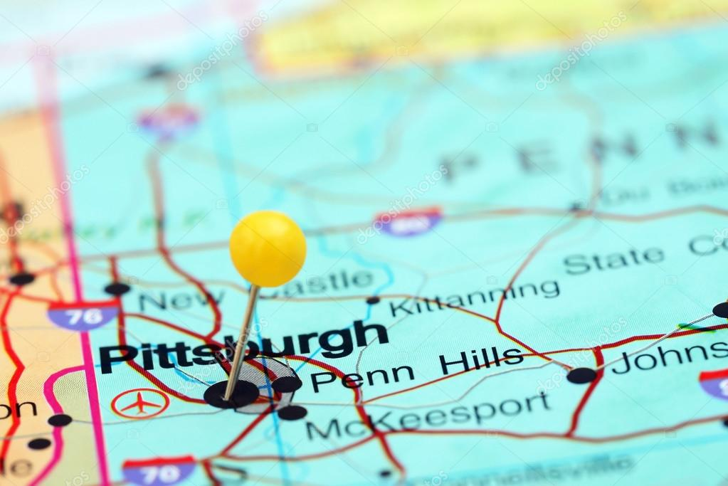 Pittsburgh pinned on a map of USA Stock Photo dkphotos 77809060