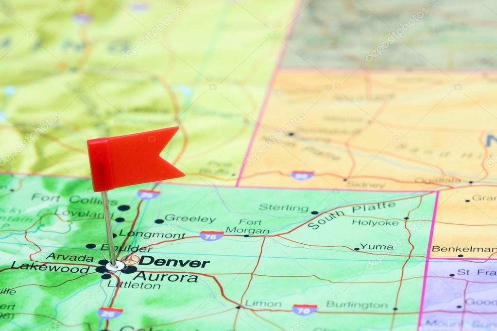 Denver Pinned On A Map Of Usa Stock Photo C Dk Photos 77812002