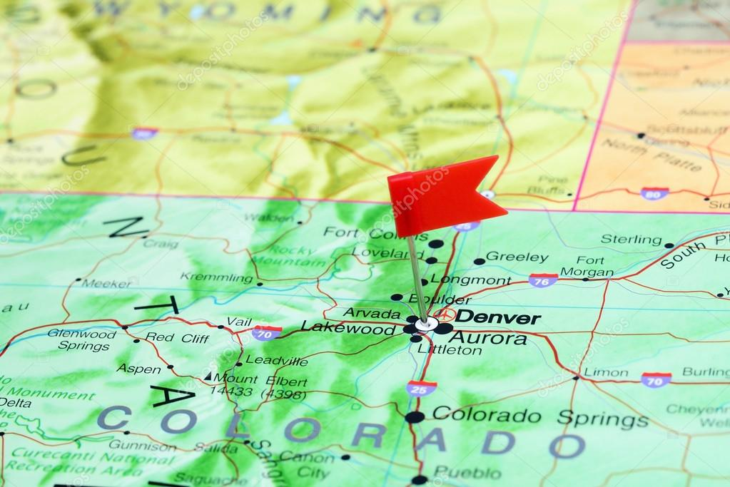 Denver Pinned On A Map Of Usa Stock Photo C Dk Photos 77812006