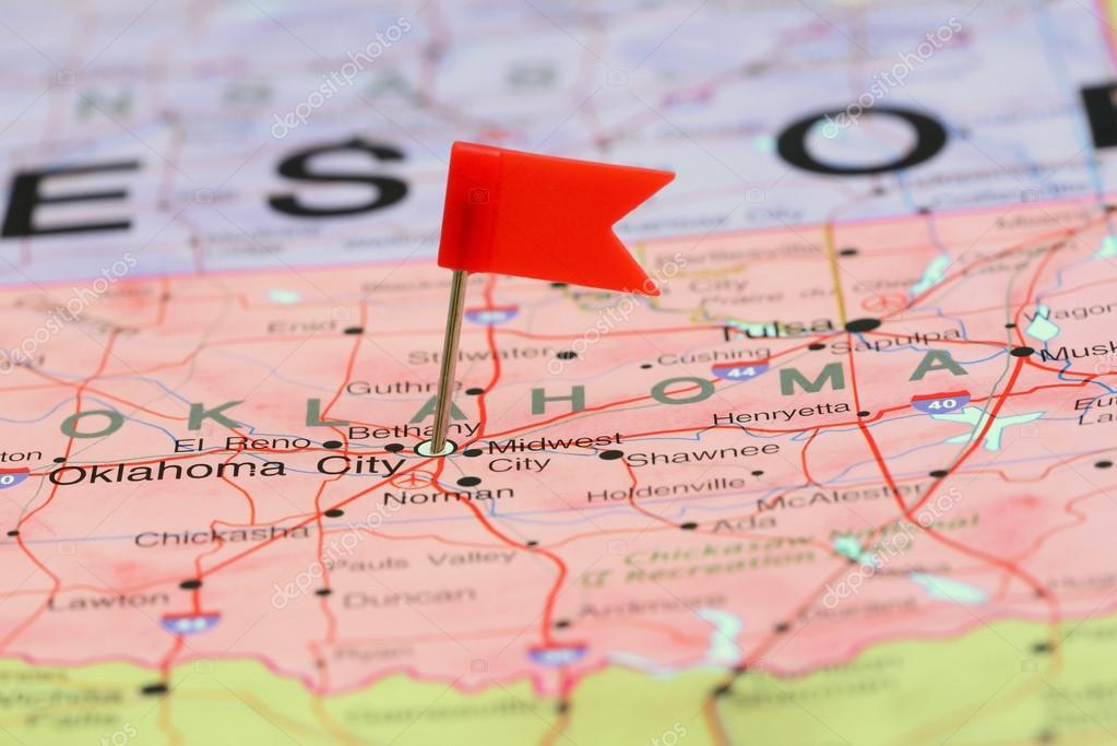 Oklahoma City pinned on a map of USA — Stock Photo ...