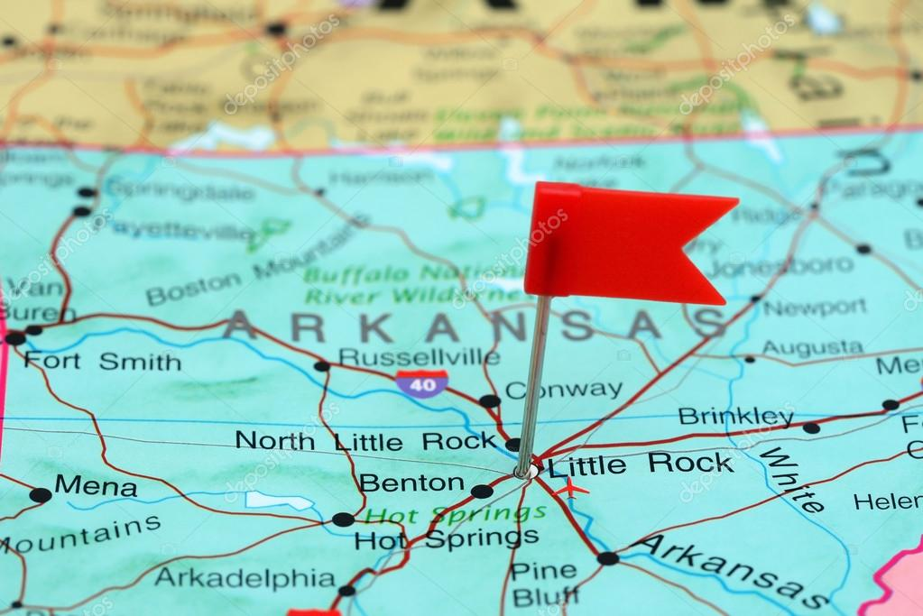 Little Rock pinned on a map of USA — Stock Photo © dk_photos #77812360