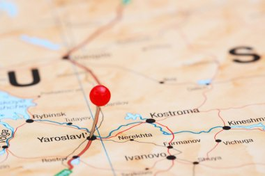 Yaroslavl pinned on a map of europe