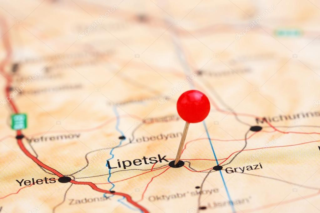 Lipetsk pinned on a map of europe Stock Photo dkphotos 78081774