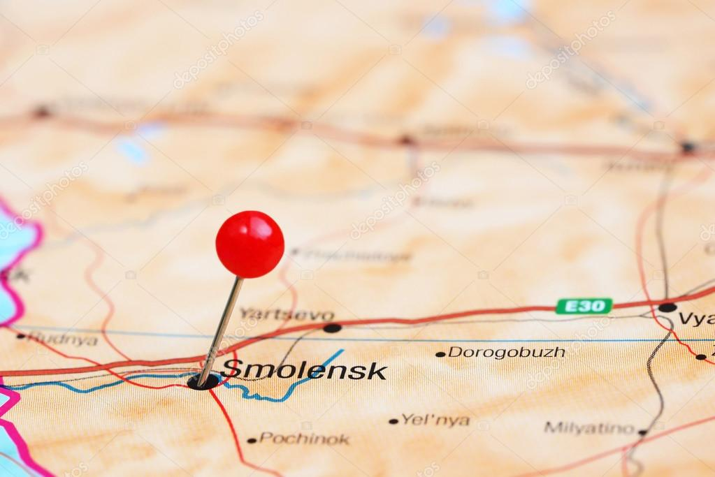 Smolensk Pinned On A Map Of Europe Stock Photo C Dk Photos 78081778