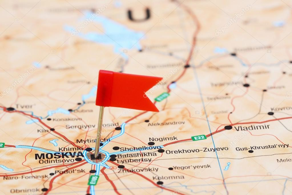 Moscow Pinned On A Map Of Europe Stock Photo C Dk Photos 78081896