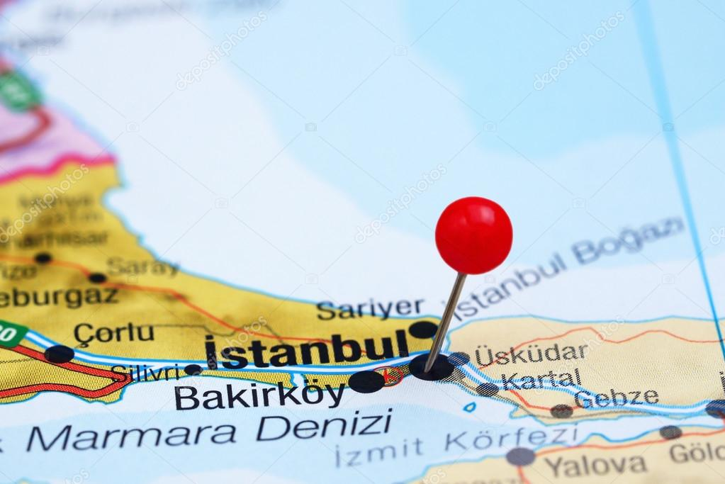 Istanbul Pinned On A Map Of Europe Stock Photo C Dk Photos 78082000
