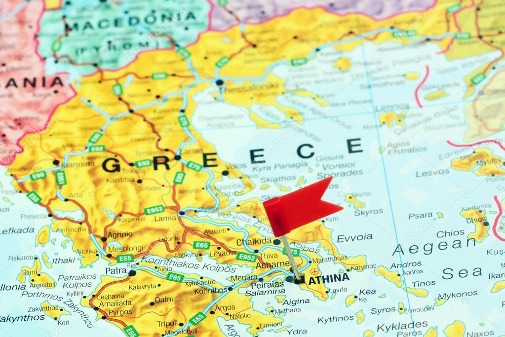 Athens Pinned On A Map Of Europe Stock Photo C Dk Photos 78082006