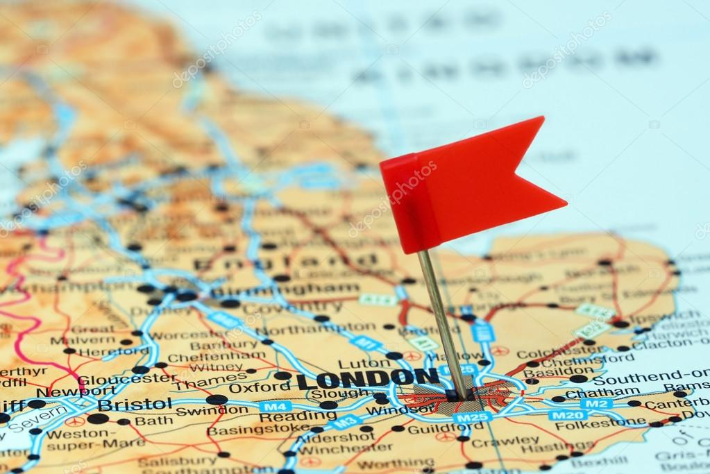 London Pinned On A Map Of Europe Stock Photo C Dk Photos 78082280