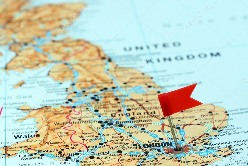London Pinned On A Map Of Europe Stock Photo C Dk Photos 78082286