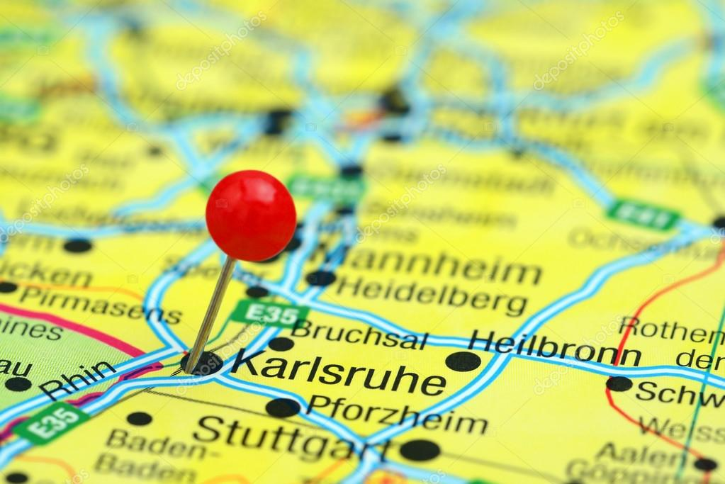 Karlsruhe pinned on a map of europe Stock Photo dkphotos 78082310