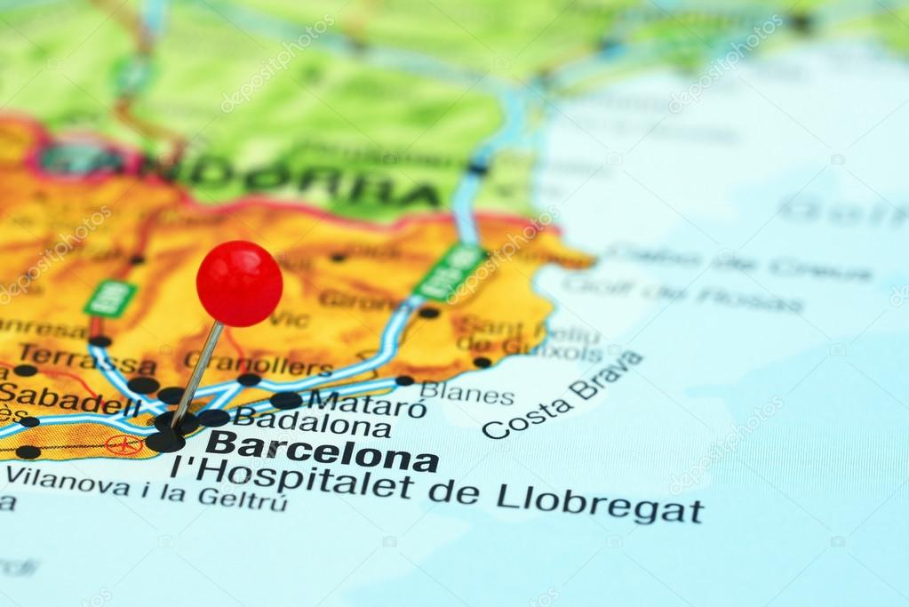 Barcelona Pinned On A Map Of Europe Stock Photo C Dk Photos 78082450