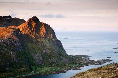 """Картина, постер, плакат, фотообои """"дорога в горы, лофотенские острова в норвегии печать фото"""", артикул 78335588"""