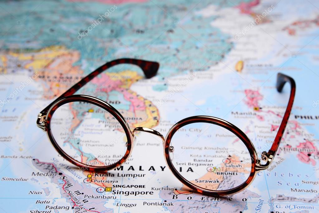 Map Of Asia Brunei.Glasses On A Map Of Asia Brunei Stock Photo C Dk Photos 82283264