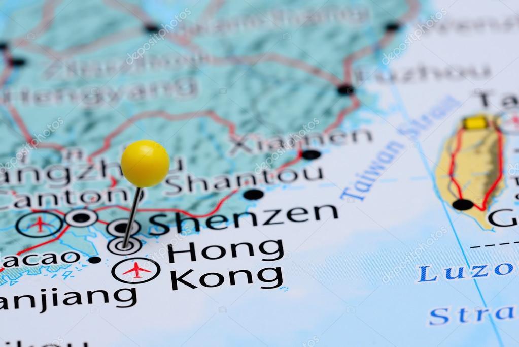 Map Of Asia Hong Kong.Hong Kong Pinned On A Map Of Asia Stock Photo C Dk Photos 82518932
