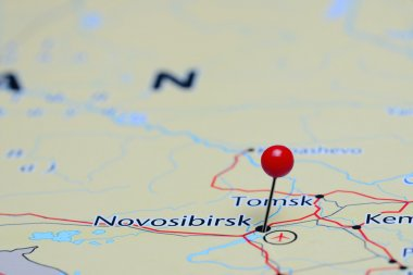 Novosibirsk pinned on a map of Asia