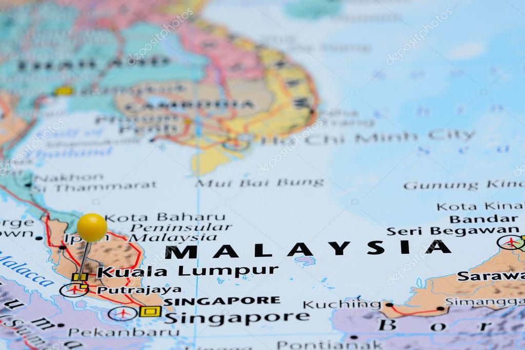 Kuala Lumpur Pinned On A Map Of Asia Stock Photo C Dk Photos