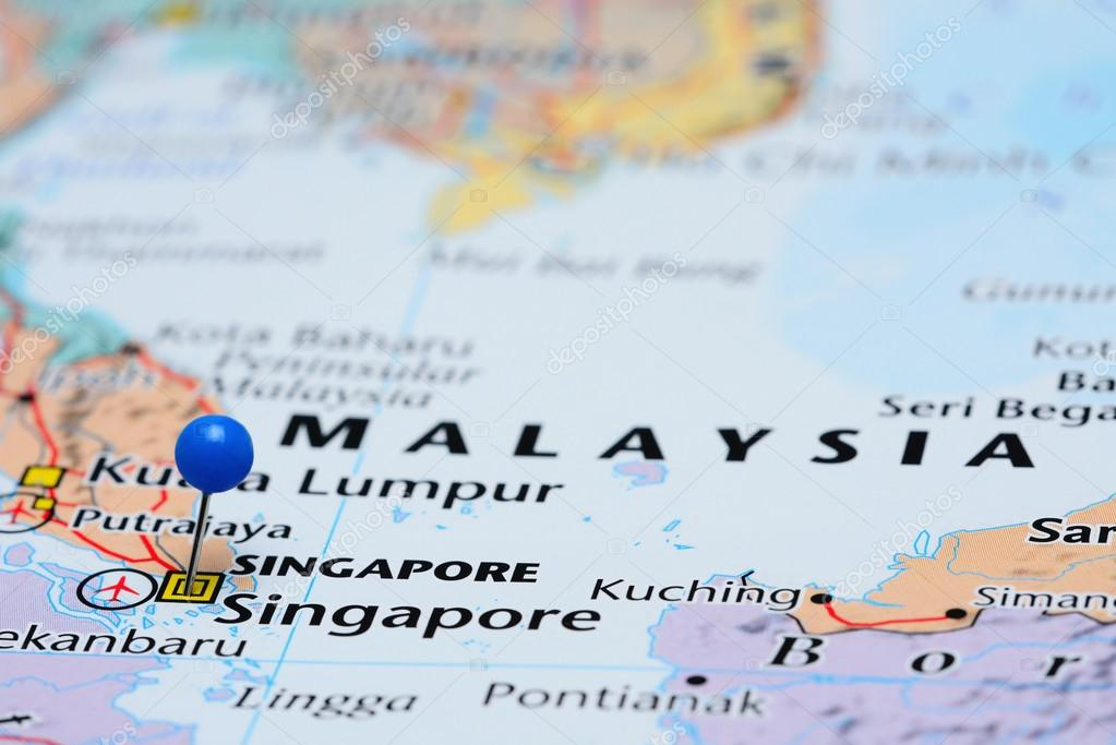 Map Of Asia Showing Singapore.Singapore Pinned On A Map Of Asia Stock Photo C Dk Photos 82880254