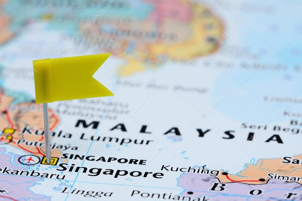 Singapore Pinned On A Map Of Asia Stock Photo C Dk Photos 82880270