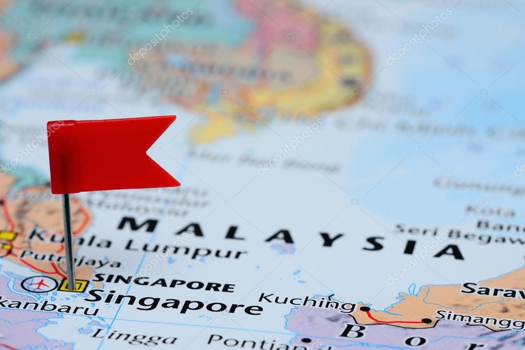 Singapore pinned on a map of Asia — Stock Photo © dk_photos ...