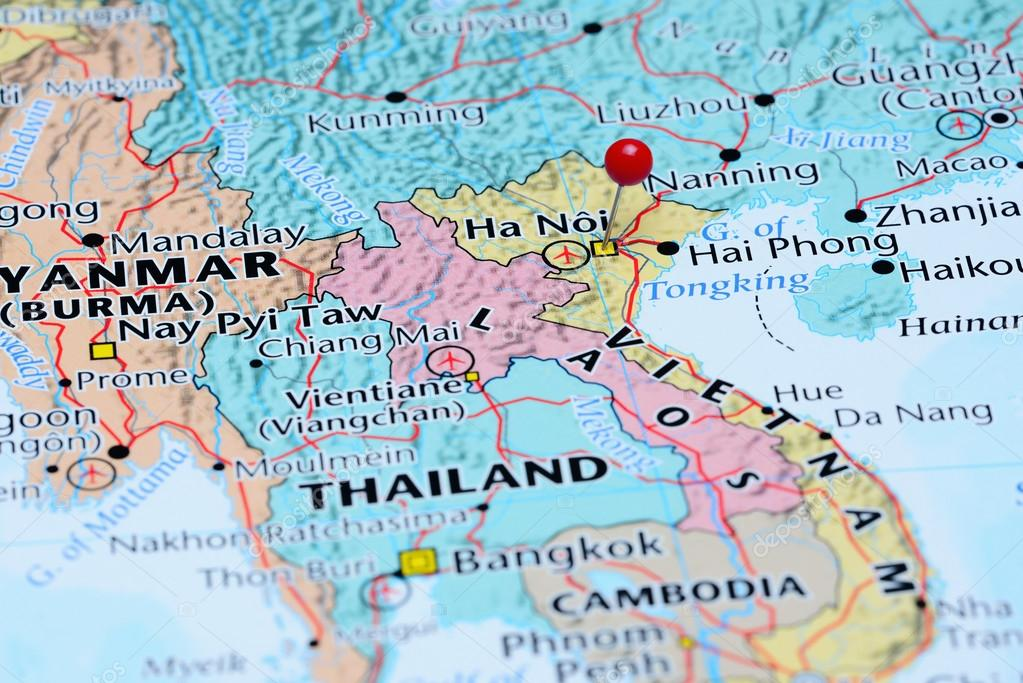 Hanoi pinned on a map of Asia Stock Photo dkphotos 83369638