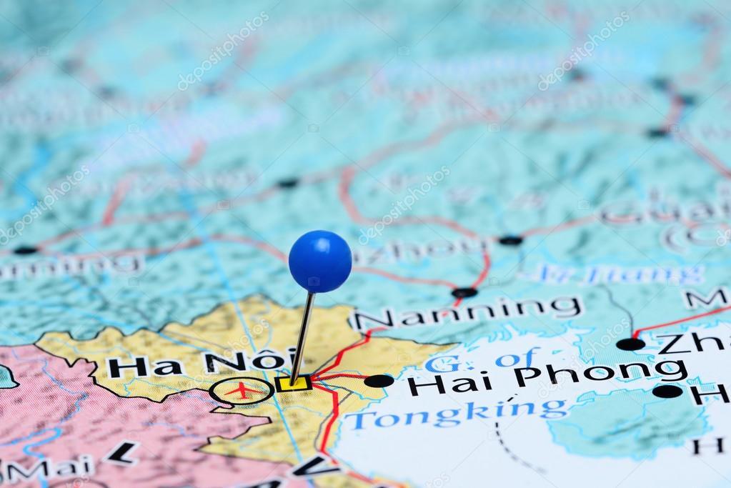 Hanoi pinned on a map of Asia — Stock Photo © dk_photos #83369664