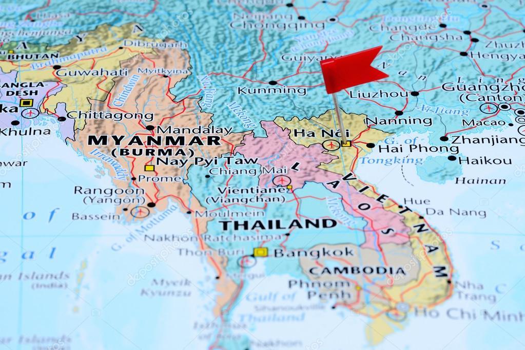 karta över asien Hanoi fästs på en karta över Asien — Stockfotografi © dk_photos  karta över asien