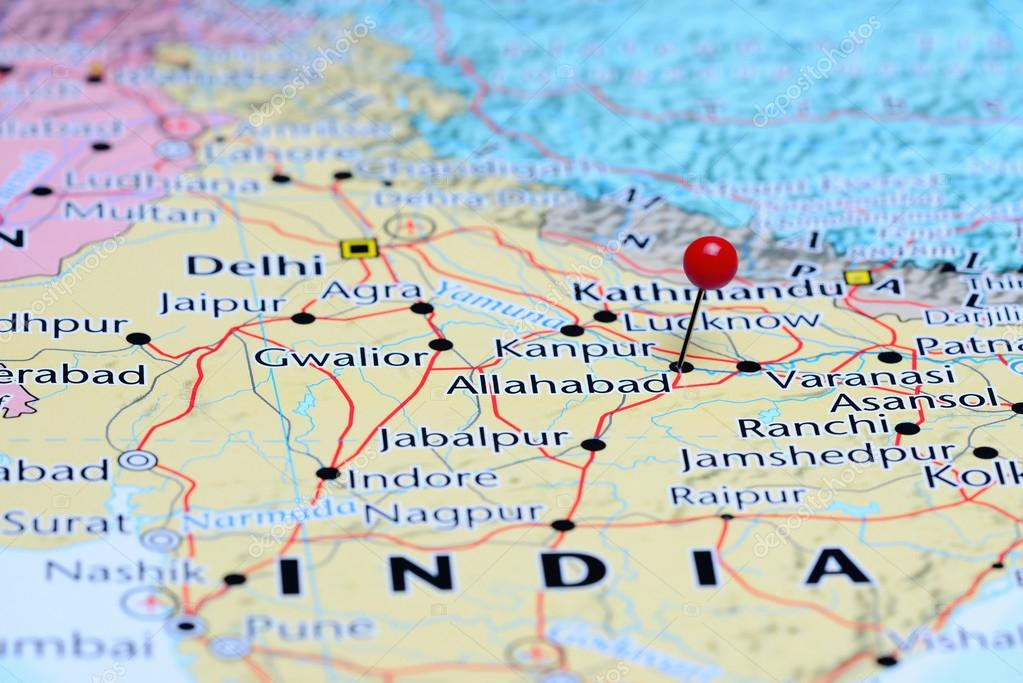 Allahabad pinned on a map of Asia Stock Photo dkphotos 83451166