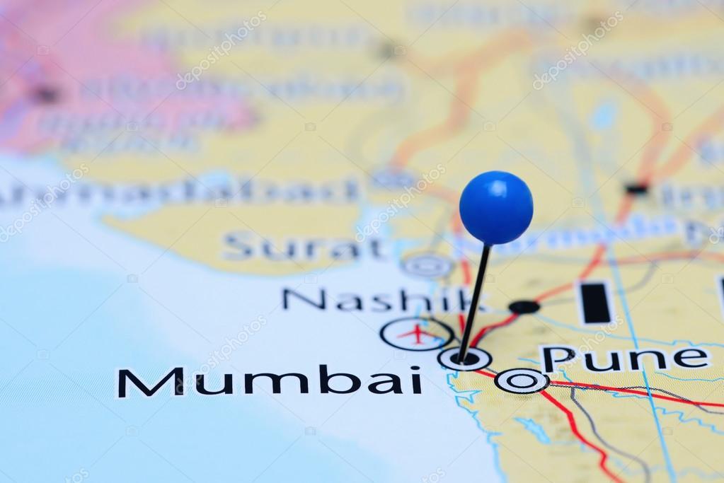 Mumbai On Map Of Asia.Mumbai Pinned On A Map Of Asia Stock Photo C Dk Photos 83451368