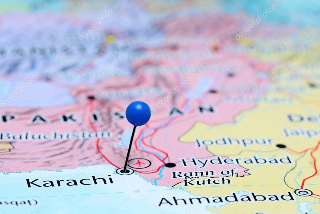 Karachi pinned on a map of Asia — Stock Photo © dk_photos
