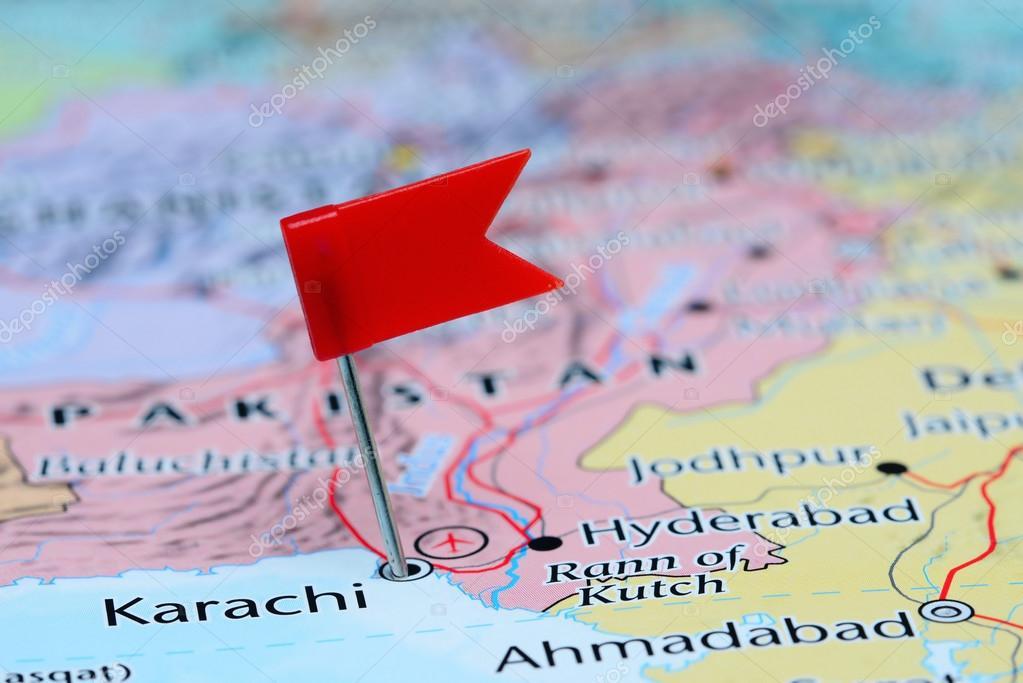 Map Of Asia Karachi.Karachi Pinned On A Map Of Asia Stock Photo C Dk Photos 83902212