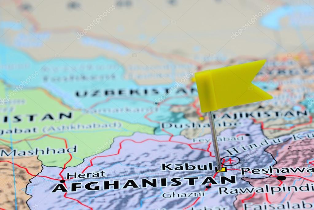 Kabul pinned on a map of Asia Stock Photo dkphotos 83902726